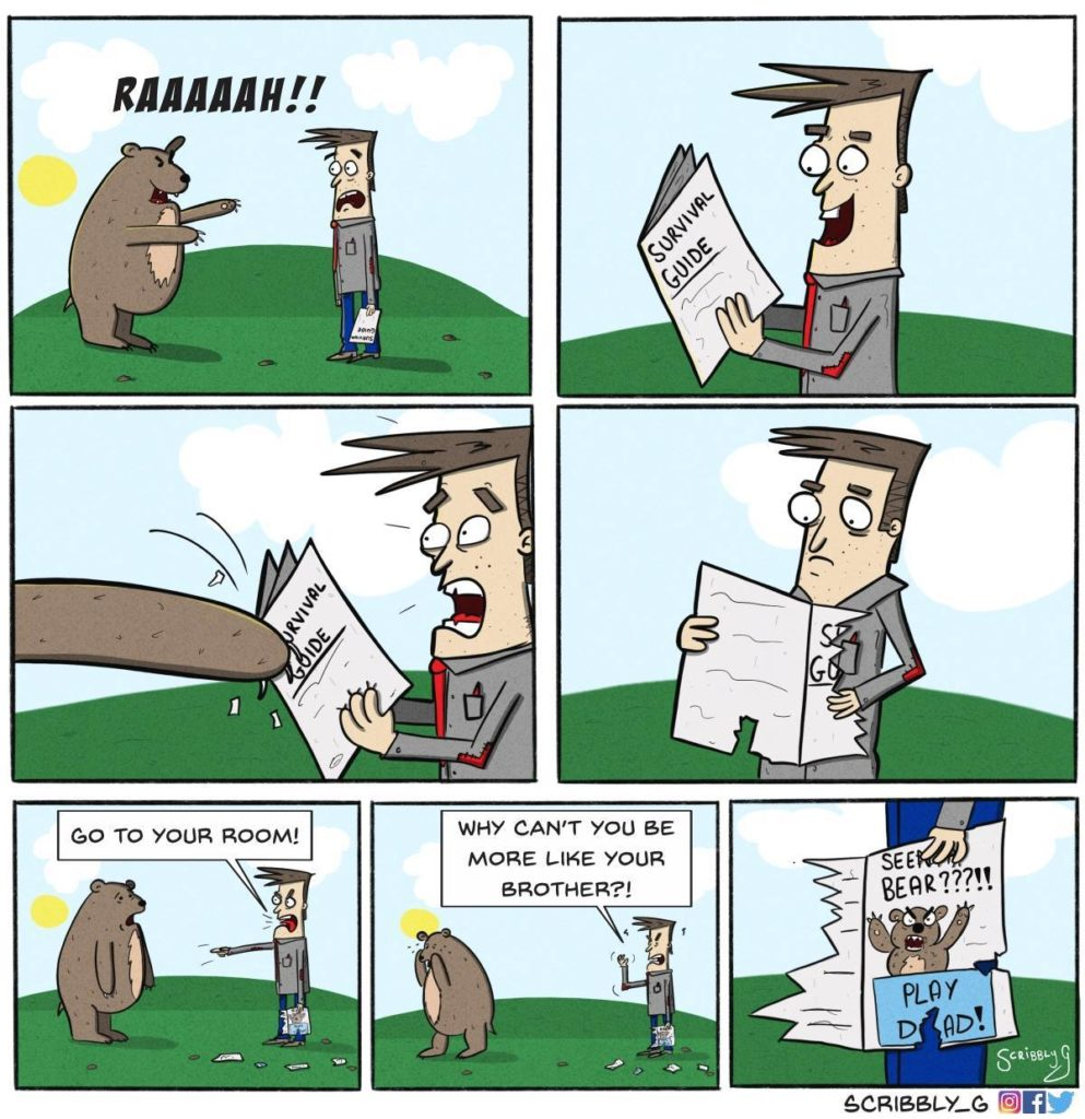 scribbly G bear attack comic