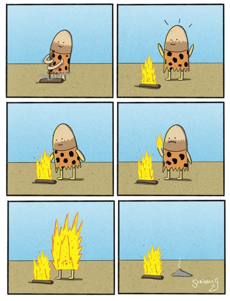 Cave Dave invents fire