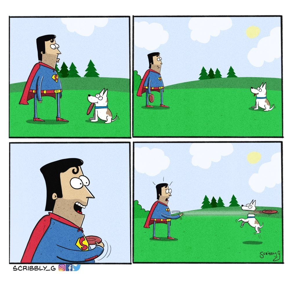 superman goes to the park